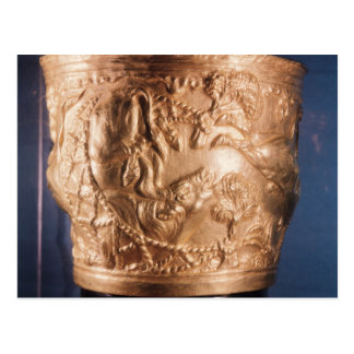 Cup, depicting the capture of a wild bull postcard