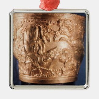 Cup, depicting the capture of a wild bull Silver-Colored square ornament