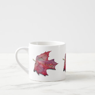 Cup expresso with watercolor of autumnal leaf 2