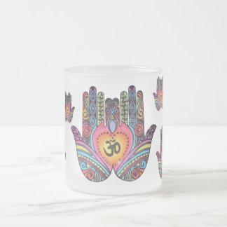 Cup: hand of fatima frosted glass coffee mug