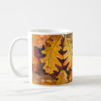 Cup leaves autumn in watercolor
