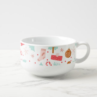 Cup of Cheer Christmas Pattern Soup Bowl