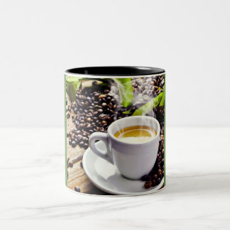 Cup of Coffee and Coffee Beans Two-Tone Mug