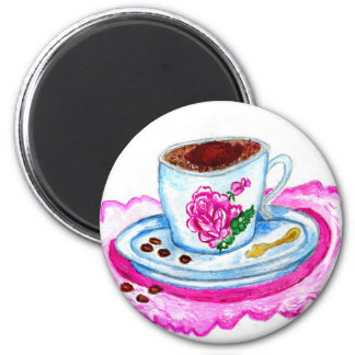 Cup of Coffee Art 2 Inch Round Magnet