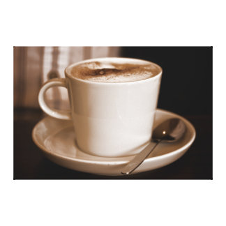 Cup of Coffee Sepia - Large Format Wrapped Canvas