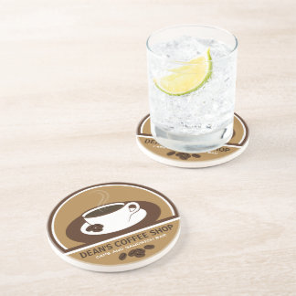 Cup of Coffee Shop Cafe Sandstone Drink Coasters