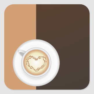Cup of coffee square sticker