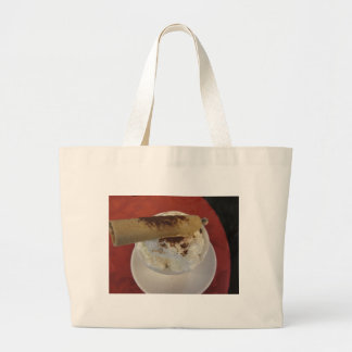Cup of hot chocolate with whipped cream topping large tote bag