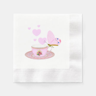 Cup of pink color and butterfly with many hearts paper napkin