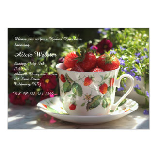 Cup of Strawberries Luncheon Invitation