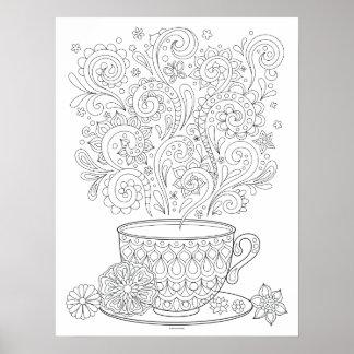 Cup of Tea Coloring Poster - Tea Cup Art