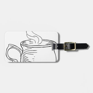 Cup of Tea or Coffee Vintage Retro Etched Style Luggage Tag