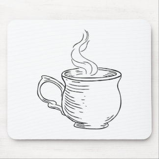 Cup of Tea or Coffee Vintage Retro Etched Style Mouse Pad