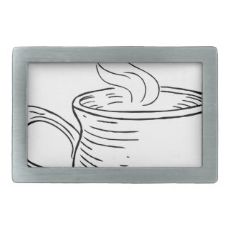 Cup of Tea or Coffee Vintage Retro Etched Style Rectangular Belt Buckle