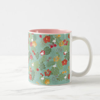 Cup printed with tropical and flamenco flowers