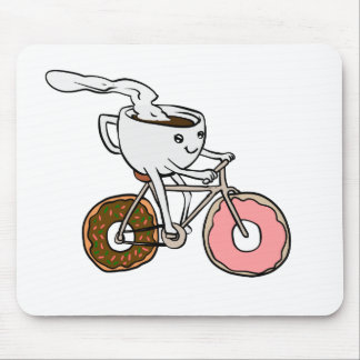 Cup riding a bicycle with donut wheels mouse pad