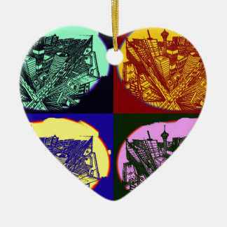 cup - town center 3 POINT perspective pop kind Ceramic Heart Ornament