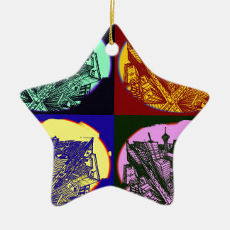 cup - town center 3 POINT perspective pop kind Ceramic Star Ornament