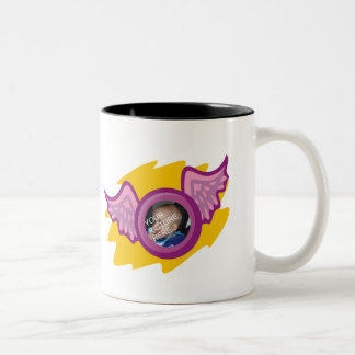 Cup with angel wing frame Two-Tone coffee mug