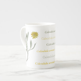 Cup with calendula in watercolor