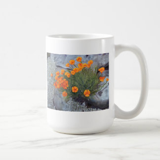 Cup with Fine Art of Poppies among the rocks