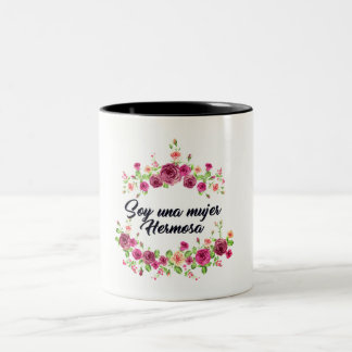 Cup with floral design and phrase for women