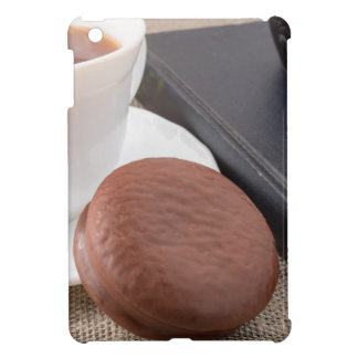 Cup with hot cocoa and chocolate cake iPad mini cover