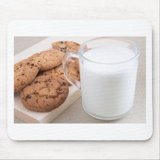 Cup with milk and oatmeal cookies mouse pad