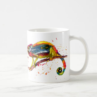 Cup with multicolored handpainted Chameleon