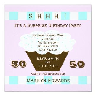 Cupcake 50th Surprise Birthday Party Invitation