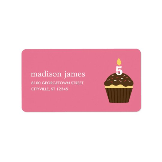 Cupcake Address Label - Pink
