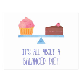 Cupcake All About A Balanced Diet Food Humor Postcard
