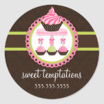 Cupcake and Cake Pops Bakery Box Seals Sticker