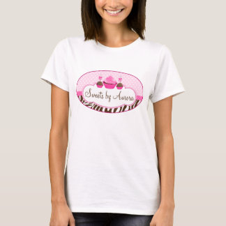 Cupcake and Cake Pops Zebra Polkadot Ribbon T-Shirt