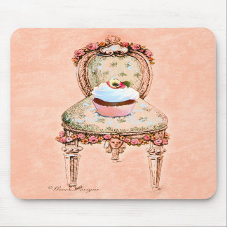 Cupcake and Chair Vintage Style Mousepad