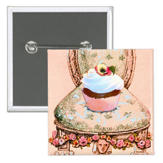 Cupcake and Chair Vintage Style Pinback Button