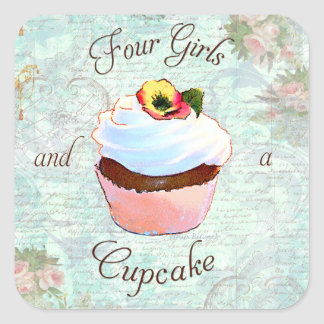 Cupcake and Pink Roses Square Sticker