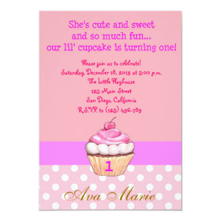 Cupcake and Polka Dots Birthday Invitation
