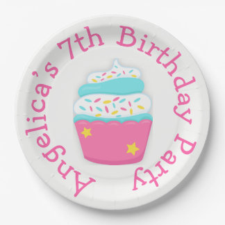 Cupcake and Sprinkles Birthday Party 9 Inch Paper Plate