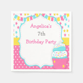 Cupcake and Sprinkles Birthday Party Disposable Napkins