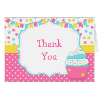 Cupcake and Sprinkles Birthday Party Thank You Card