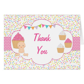 Cupcake Baby Sprinkle Thank You Card