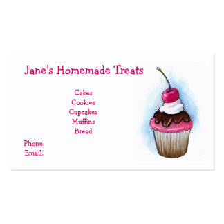 Cupcake: Baker Business Cards: Pink and White Pack Of Standard Business Cards