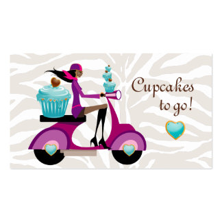 Cupcake Bakery Cute Scooter Girl Zebra Modern Business Card Templates