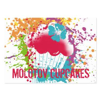 Cupcake bakery ink blot grunge splatter rainbow business card templates