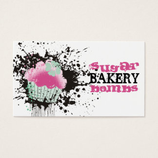 Cupcake bakery ink blot grunge splatters pink mint business card