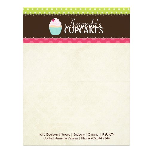 Cupcake bakery letterhead zazzle for Design home gift paper inc