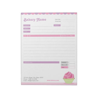 Cupcake Bakery Order Form or Invoice Notepad