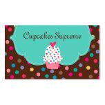 Cupcake Bakery Polka Dots Brown Green Heart Business Card