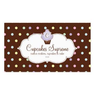 Cupcake Bakery Polka Dots Chocolate Mauve Business Card